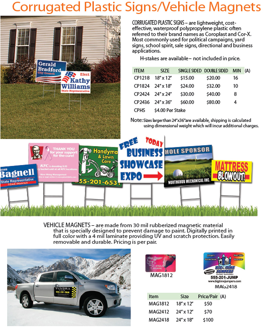Corrugated Plastic Signs / Vehicle Magnets