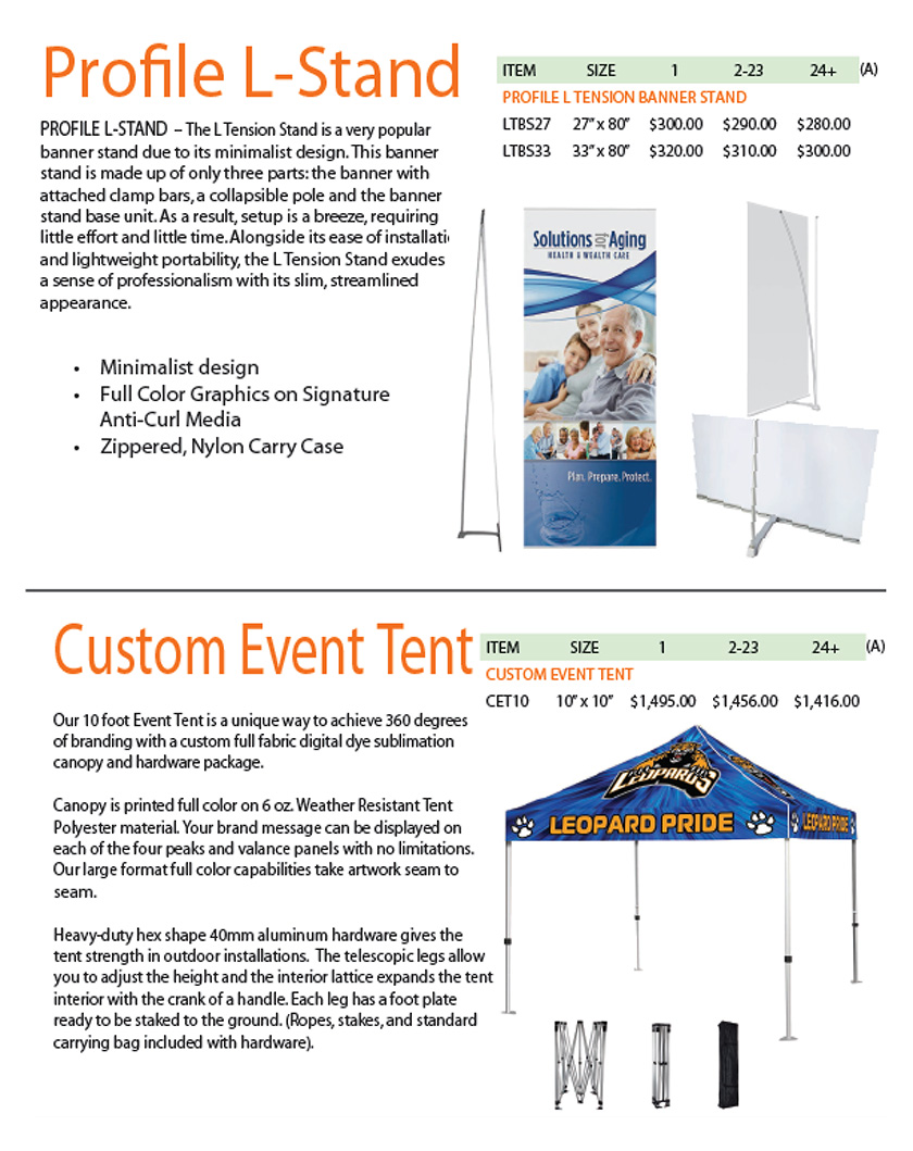 Profile L-Stand and Custom Event Tent